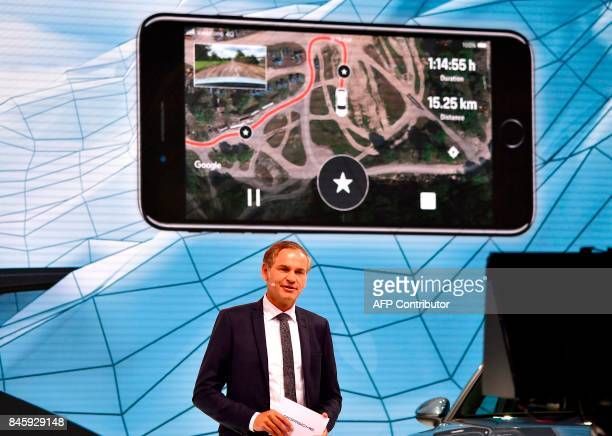 Oliver Blume chairman of the Executive board of Porsche AG delivers his speechduring a show at the stand of German carmaker Porsche at the Frankfurt...