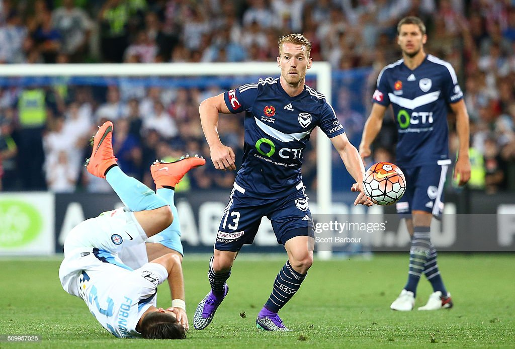 Oliver Bozanic of the Victory and Bruno Fornaroli of City FC compete for the ball during the round 19 A-League match between Melbourne City FC and Melbourne Victory at AAMI Park on February 13, 2016 in Melbourne, Australia.
