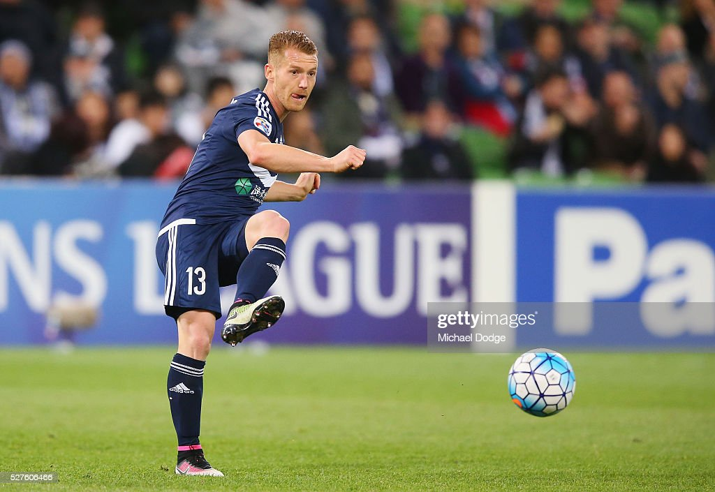 Oliver Bozanic of the Victory kicks the ball during the AFC Champions League match between Melbourne Victory and Gamba Osaka at AAMI Park on May 3, 2016 in Melbourne, Australia.