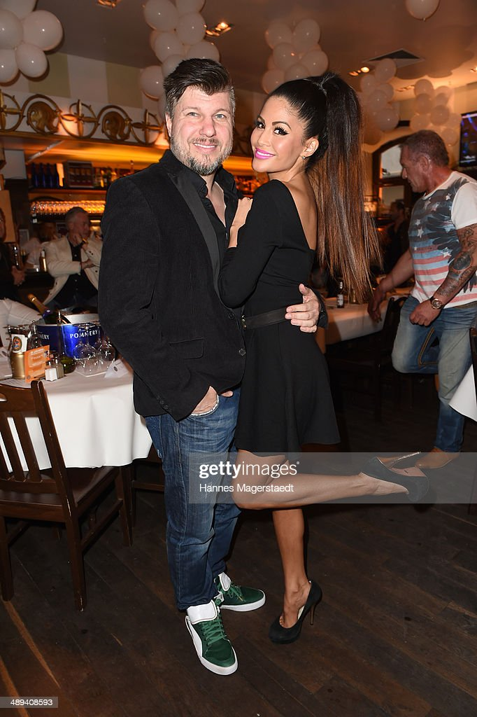 Oliver Burghart and his wife Playmate <a gi-track='captionPersonalityLinkClicked' href=/galleries/search?phrase=Mia+Gray&family=editorial&specificpeople=6704187 ng-click='$event.stopPropagation()'>Mia Gray</a> attend 9 Years Anniversary Bachmaier Hofbraeu at Bachmaier Hofbraeu on May 10, 2014 in Munich, Germany.