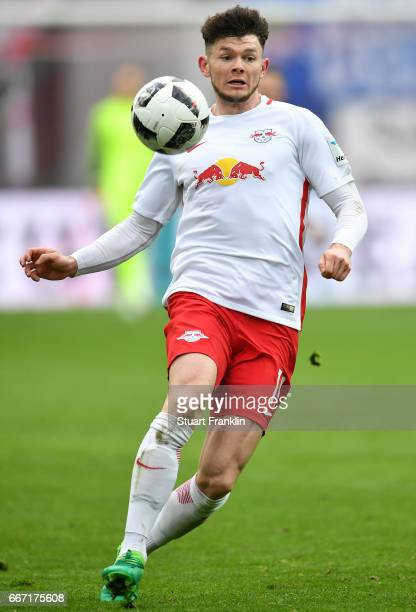 Oliver Burke of Leipzig in action during the Bundesliga match between RB Leipzig and Bayer 04 Leverkusen at Red Bull Arena on April 8 2017 in Leipzig...