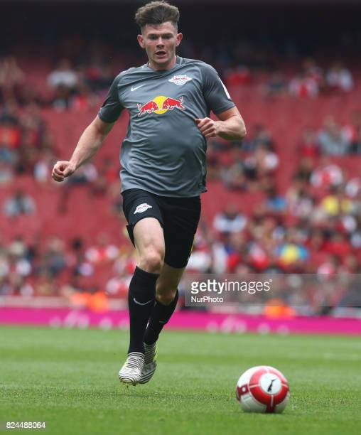 Oliver Burke of RB Leipzig during Emirates Cup match between RB Leipzig against Benfica at The Emirates Stadium in north London on July 30 the game...