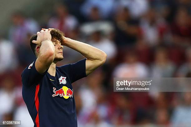 Oliver Burke of RB Leipzig looks on during the Bundesliga match between 1 FC Koeln and RB Leipzig at RheinEnergieStadion on September 25 2016 in...