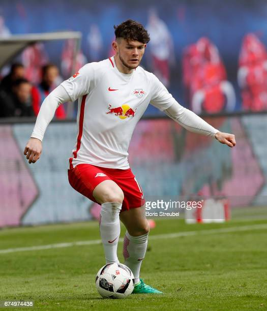 Oliver Burke of RB Leipzig runs with the ball during the Bundesliga match between RB Leipzig and FC Ingolstadt 04 at Red Bull Arena on April 29 2017...