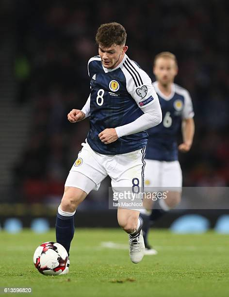 Oliver Burke of Scotland controls the ball during the FIFA 2018 World Cup Qualifier between Scotland and Lithuania at Hampden Park on October 8 2016...