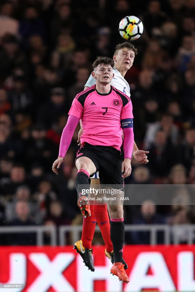 Oliver Burke of Scotland U21 and Dael Fry of England U21 during the UEFA European Under 21 Championship Qualifiers fixture between England U21 and Scotland U21 at Riverside Stadium on October 6, 2017 in Middlesbrough, England.