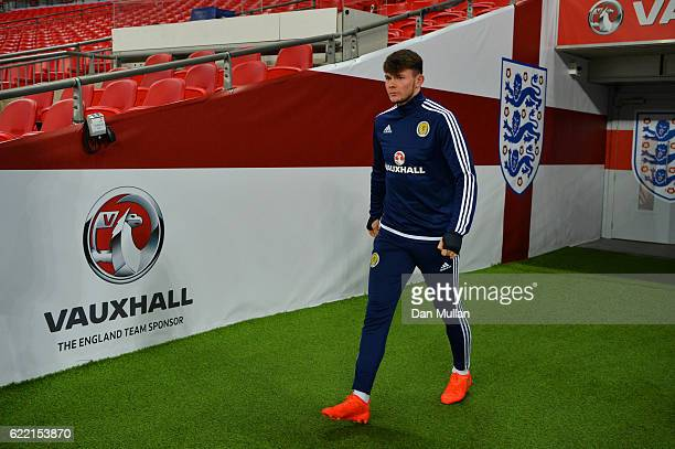 Oliver Burke of Scotland walks out for a training session ahead of the FIFA 2018 World Cup qualifying group F match against England at Wembley...