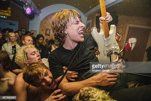 Oliver Burslem of Yak performs on stage at Moth Club on November 17 2015 in London England