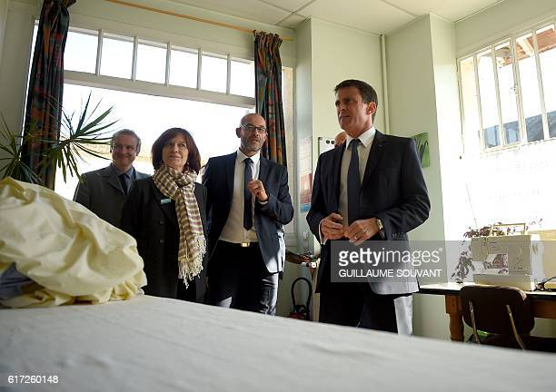 Oliver Chasson the director of Pontourny center speaks to French Prime Minister Manuel Valls and French Prime Minister Manuel Valls and French...