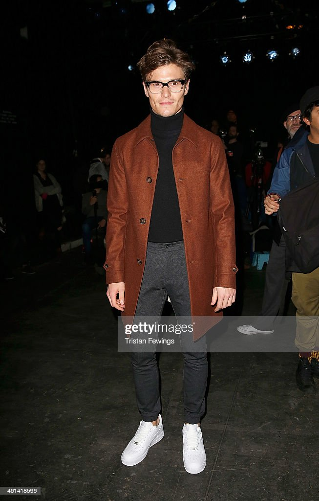 Oliver Cheshire attends the E.Tautz show at the London Collections: Men AW15 at on January 12, 2015 in London, England.