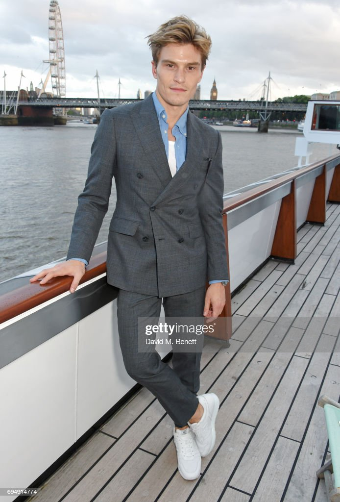 Oliver Cheshire attends the Henley Royal Regatta and their official partner, Hackett London, launch event during LFWM aboard The Silver Sturgeon on June 11, 2017 in London, England.