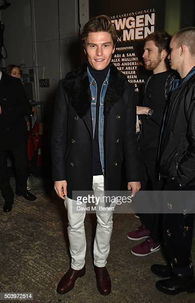 Oliver Cheshire attends the TOPMAN Design Front Row during London Collections Men AW16 at Topman Show Space on January 8 2016 in London England