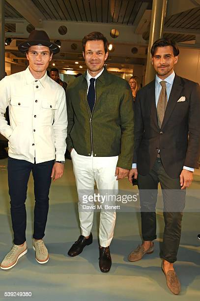 Oliver Cheshire Paul Sculfor and Johannes Huebl attend the Oliver Spencer show during The London Collections Men SS17 at the BFC Show Space on June...