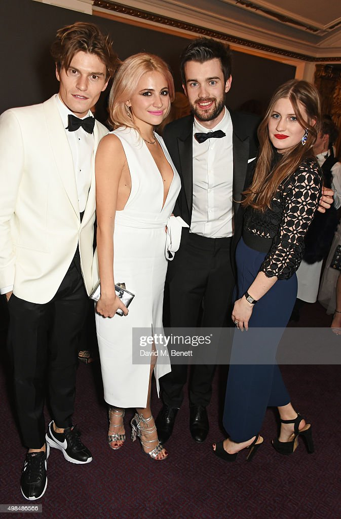 Oliver Cheshire, Pixie Lott, Jack Whitehall and Molly Whitehall attend a drinks reception at the British Fashion Awards in partnership with Swarovski at the London Coliseum on November 23, 2015 in London, England.