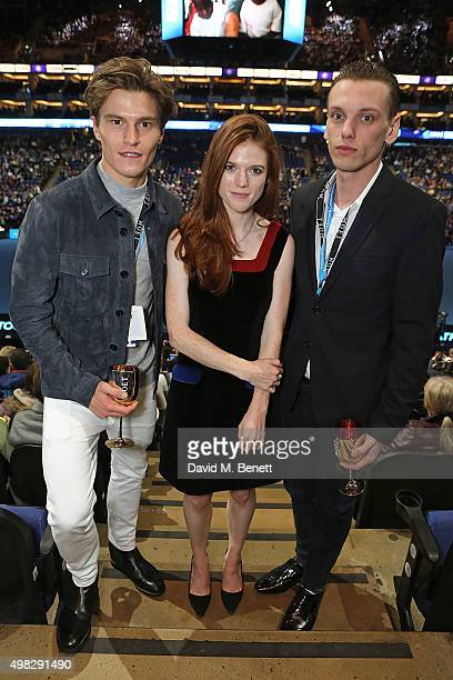 Oliver Cheshire Rose Leslie and Jamie Campbell Bower celebrate with Moet Chandon whilst raising a toast to the winners of the 2015 Barclays ATP World...