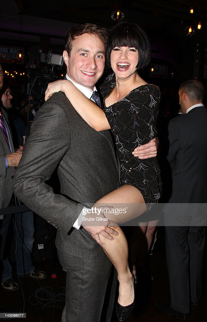 Oliver Chris and Jemima Rooper attend the after party for the 'One Man Two Guvnors' Broadway Opening Night at The Liberty Theatre on April 18 2012 in...