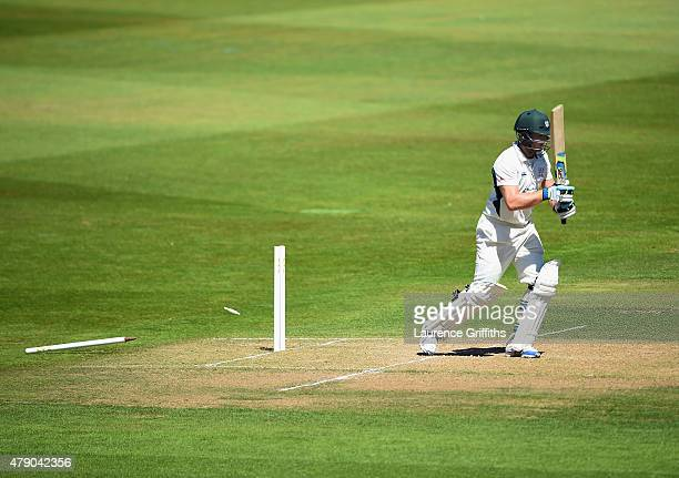 Oliver Cox of Worcestershire is bowled by Brett Hutton of Nottinghamshire during day two of the LV County Championship match between Nottinghamshire...