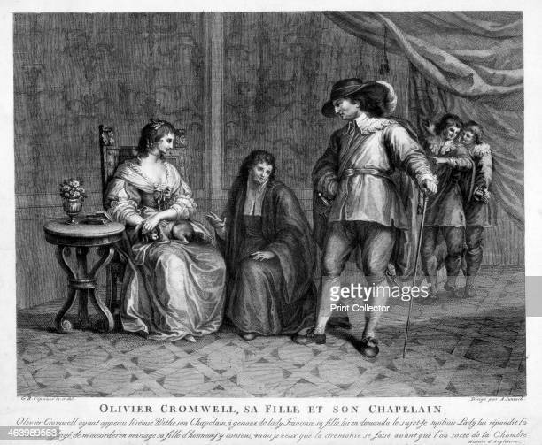 Oliver Cromwell his daughter and his chaplain 17th century Cromwell Lord Protector from 1653 pictured with his youngest daughter Frances and his...
