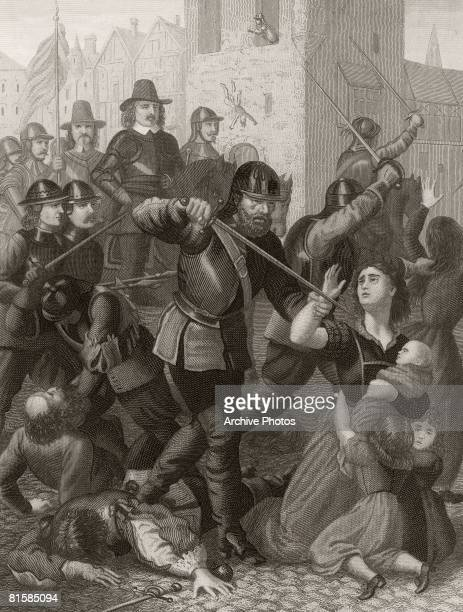Oliver Cromwell's troops massacre the town's civilians after the Seige of Drogheda in County Louth September 1649