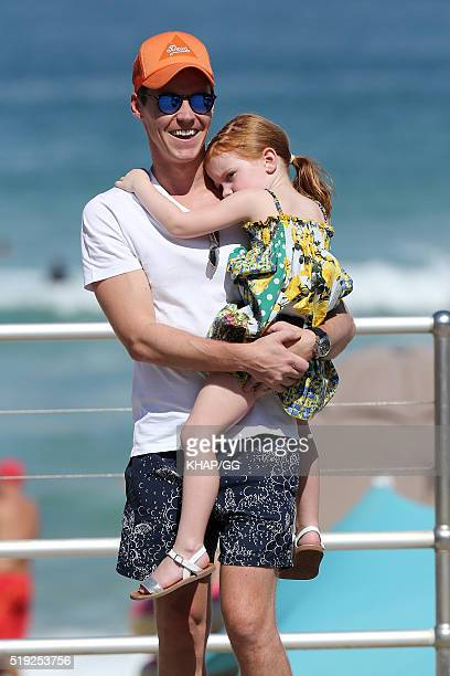 Oliver Curtis husband of Roxy Jacenko is seen with daughter Pixie on April 2 2016 in Sydney Australia