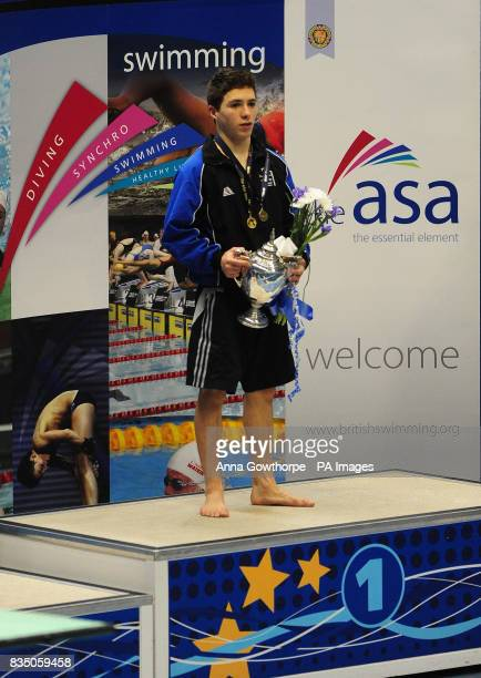 Oliver Dingley celebrates first place in the mens 1m springboard final during the Great Britain ASA Senior National Championships at Ponds Forge...