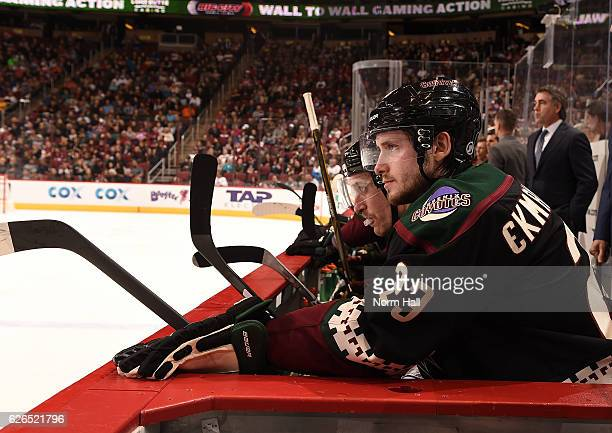 Oliver EkmanLarsson looks on from the bench against the Edmonton Oilers at Gila River Arena on November 25 2016 in Glendale Arizona