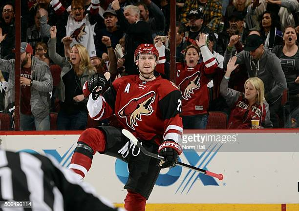 Oliver EkmanLarsson of the Arizona Coyotes celebrates after his second period goal against the Los Angeles Kings at Gila River Arena on January 23...