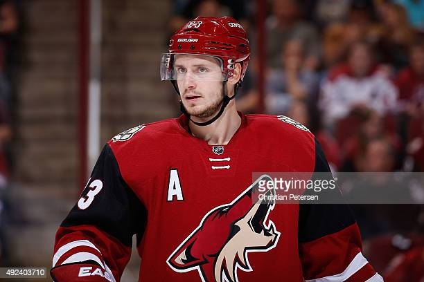 Oliver EkmanLarsson of the Arizona Coyotes during the NHL game against the Pittsburgh Penguins at Gila River Arena on October 10 2015 in Glendale...