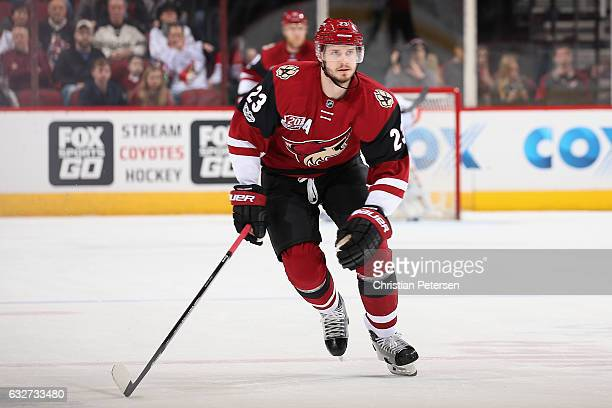 Oliver EkmanLarsson of the Arizona Coyotes in action during the first period of the NHL game against the Florida Panthers at Gila River Arena on...