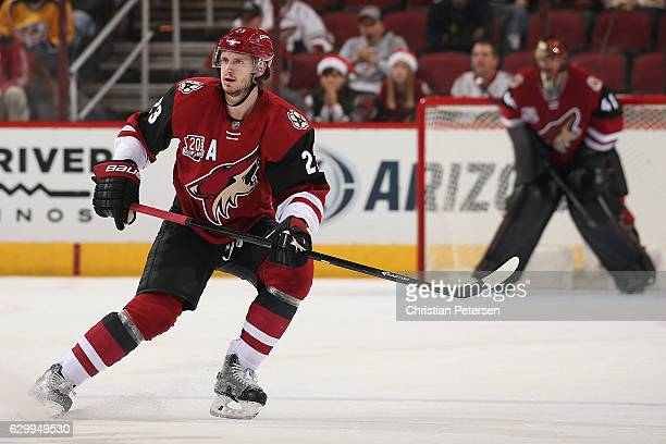Oliver EkmanLarsson of the Arizona Coyotes in action during the NHL game against the Nashville Predators at Gila River Arena on December 10 2016 in...
