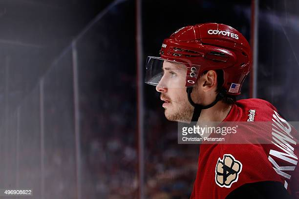 Oliver EkmanLarsson of the Arizona Coyotes looks down ice during the third period of the NHL game against the Edmonton Oilers at Gila River Arena on...
