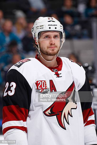 Oliver EkmanLarsson of the Arizona Coyotes looks on during the game against the San Jose Sharks at SAP Center on November 29 2016 in San Jose...