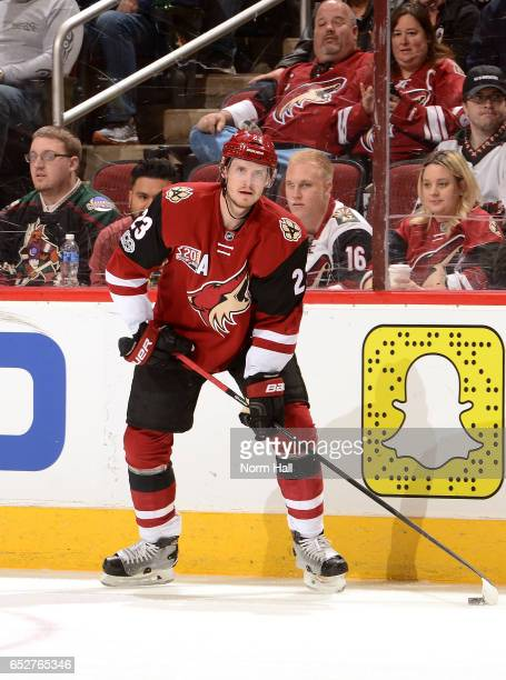 Oliver EkmanLarsson of the Arizona Coyotes looks to pass the puck against the Ottawa Senators at Gila River Arena on March 9 2017 in Glendale Arizona