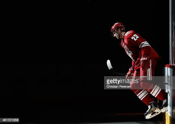 Oliver EkmanLarsson of the Arizona Coyotes skates out onto the ice before the NHL game against the Winnipeg Jets at Gila River Arena on January 8...