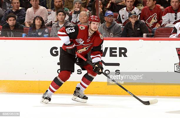 Oliver EkmanLarsson of the Arizona Coyotes skates with the puck against the New York Islanders at Gila River Arena on January 7 2017 in Glendale...