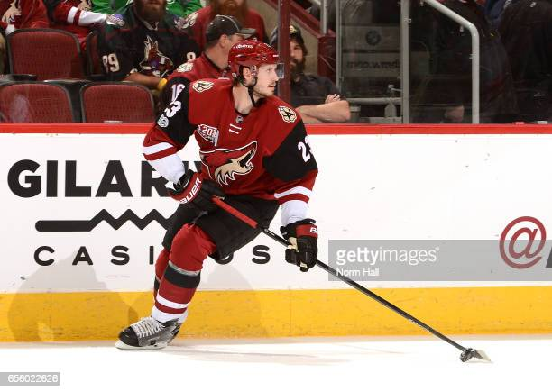 Oliver EkmanLarsson of the Arizona Coyotes skates with the puck against the Detroit Red Wings at Gila River Arena on March 16 2017 in Glendale Arizona