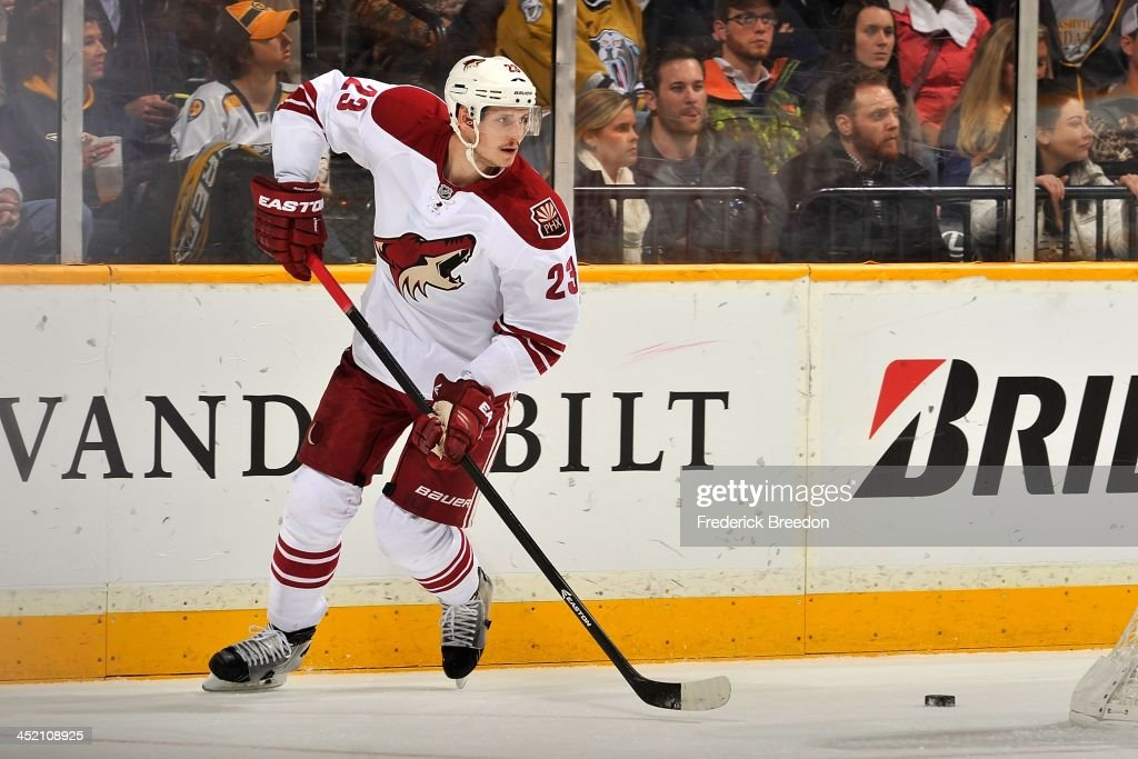 <a gi-track='captionPersonalityLinkClicked' href=/galleries/search?phrase=Oliver+Ekman-Larsson&family=editorial&specificpeople=5894618 ng-click='$event.stopPropagation()'>Oliver Ekman-Larsson</a> #23 of the Phoenix Coyotes skates against the Nashville Predators at Bridgestone Arena on November 25, 2013 in Nashville, Tennessee.
