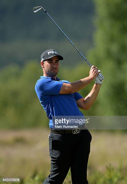 Oliver Farr of Wales at the 10th hole during the first day of the 2016 SSE Scottish Hydro Challenge at the MacDonald Spay Valley Golf Course on June...