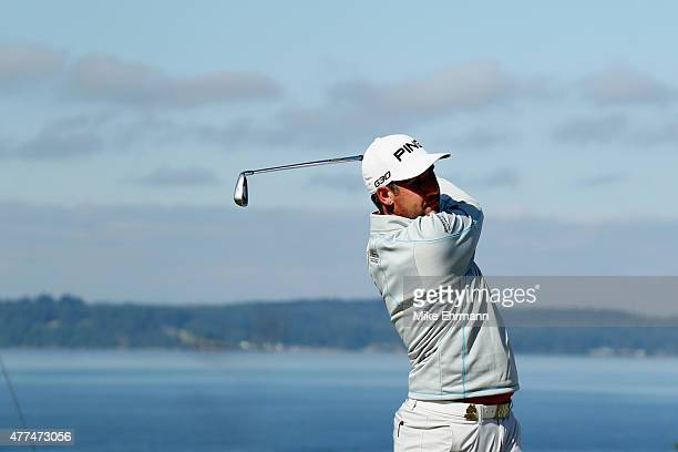Oliver Farr of Wales hits a tee shot during a practice round prior to the start of the 115th US Open Championship at Chambers Bay on June 17 2015 in...