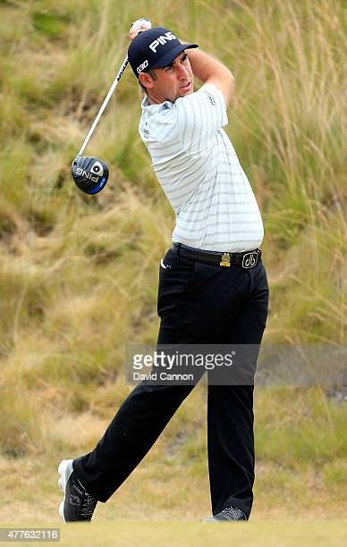 Oliver Farr of Wales hits his tee shot on the sixth hole during the first round of the 115th US Open Championship at Chambers Bay on June 18 2015 in...