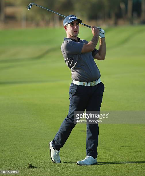 Oliver Farr of Wales in action during the first round of the Abu Dhabi HSBC Golf Championship at the Abu Dhabi Golf Cub on January 15 2015 in Abu...