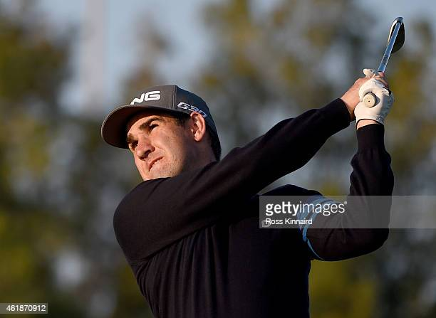 Oliver Farr of Wales in action during the first round of the Commercial Bank Qatar Masters at the Doha Golf Club on January 21 2015 in Doha Qatar