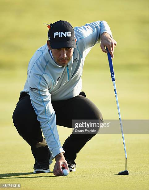 Oliver Farr of Wales lines up a putt during the second round of the Made in Denmark at Himmerland Golf Spa Resort on August 21 2015 in Aalborg Denmark