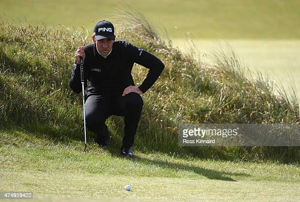 Oliver Farr of Wales lines up on the 7th green during the First Round of the Dubai Duty Free Irish Open Hosted by the Rory Foundation at Royal County...