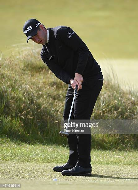 Oliver Farr of Wales looks putts on the 7th green during the First Round of the Dubai Duty Free Irish Open Hosted by the Rory Foundation at Royal...