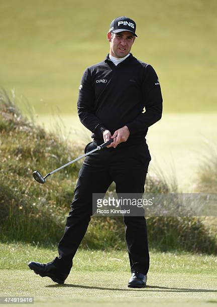 Oliver Farr of Wales looks reacts on the 7th green during the First Round of the Dubai Duty Free Irish Open Hosted by the Rory Foundation at Royal...