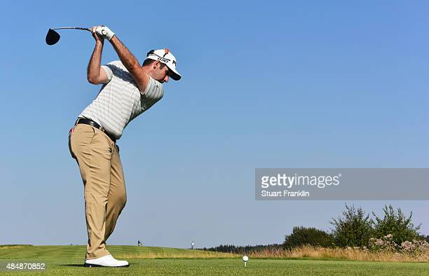 Oliver Farr of Wales plays a shot during the third round of the Made in Denmark at Himmerland Golf Spa Resort on August 22 2015 in Aalborg Denmark