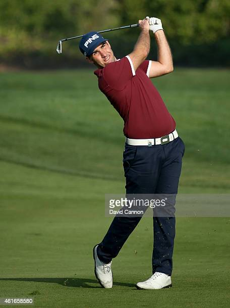 Oliver Farr of Wales plays his second shot on the par 4 6th hole during the third round of the Abu Dhabi HSBC Golf Championship at Abu Dhabi Golf...