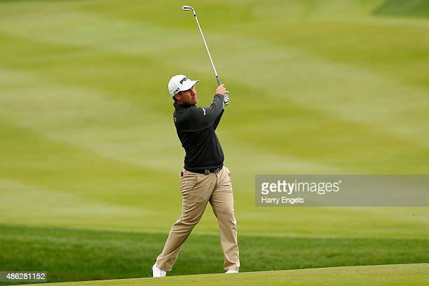 Oliver Farr of Wales plays his second shot on the tenth hole on day one of the M2M Russian Open at Skolkovo Golf Club on September 3 2015 in Moscow...