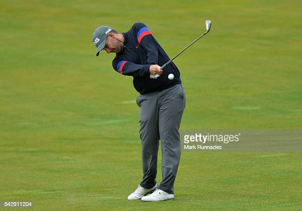 Oliver Farr of Wales second shot to the 1st during the third day of the 2016 SSE Scottish Hydro Challenge at the MacDonald Spey Valley Golf Course on...